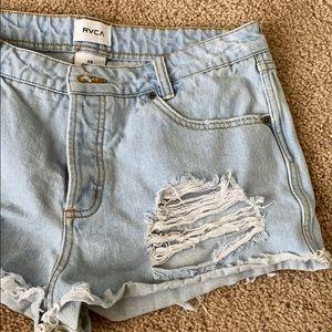 RVCA distressed denim shorts